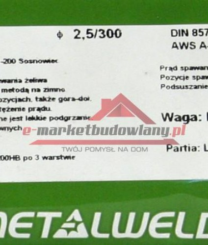 ELEKTRODA DO ŻELIWA MONEL NI CU-DO NAPRAW ODL. 3.25MM SZTUKA ELEEŻM3SZ METALWELD